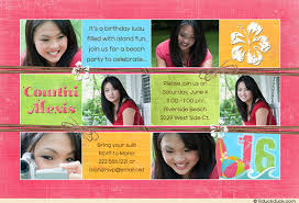 tropical pool party photo 18th birthday invitation fun age