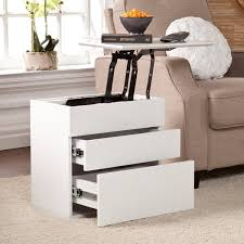 Harper Blvd Mosley White Lift Top Side Storage Table Liftable Side