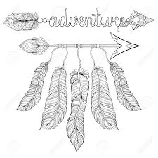 coloring pages of indian feathers boho chic ethnic dream arrow with feathers dreamcatcher adventure