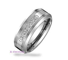 Mens Tungsten Wedding Rings by Classic Tungsten Wedding Bands With Diamond For Men Stdwellers