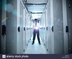 security guard in server room stock photo royalty free image