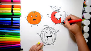 draw and color cute fruits orange apple watermelon coloring