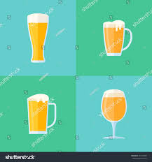 set beer glasses flat style icons stock vector 443732008