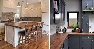 blue kitchen cabinets with wood countertops 10 benefits of wood countertops