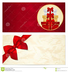 gift certificate voucher coupon template bow stock photo