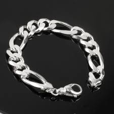 solid sterling silver mens bracelet images Men 39 s solid sterling silver heavy figaro bracelet jpg