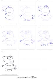 how to draw george pig from peppa pig printable step by step