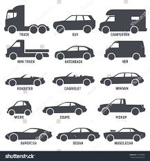 car automobile types black vector icons stock vector 475758898