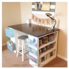 Diy Craft Craft Table Made From Cheap Book Shelves And A Piece Of Wood For
