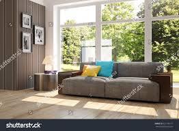 white room sofa green landscape window stock illustration