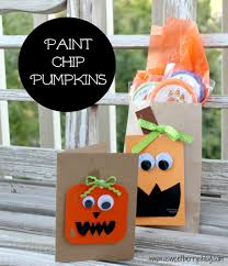 Craft Halloween by Craft Lightning Paint Chip Pumpkin Card And Party Bag A Sweet