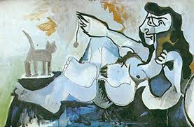reclining playing with a cat by pablo picasso