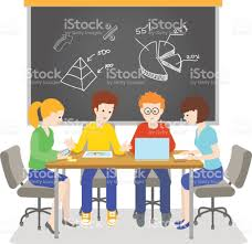 art startup team working together on a it startup brainstormin stock vector
