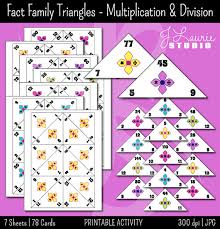 math fact families multiplication division fact family traingles multiplication division math