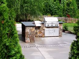 curved shape roof outdoor kitchen design many burner gas single