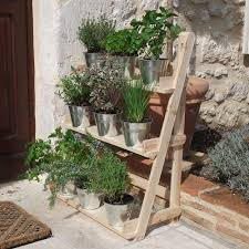 3 tier wooden flower stand herb plant pot shelves garden patio