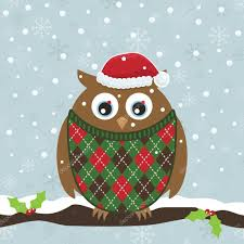 christmas owl u2014 stock vector mattasbestos 4355288