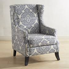 Blue Accent Chair Alec Indigo Blue Wing Chair Central Heating Wingback Chairs And
