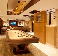 bright shuffleboard tables in basement contemporary with basement