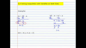 3 5 solving inequalities with variables on both sides youtube