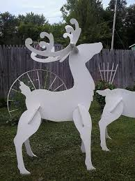 Outdoor Christmas Decorations Wooden Reindeer by