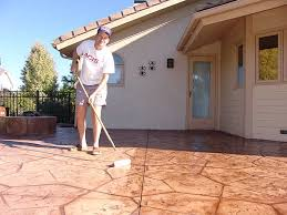 Dyed Concrete Patio by Stamped Concrete Sealing Wow