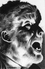 the wolf man art drawing portrait of lon chaney by marcdlewisart