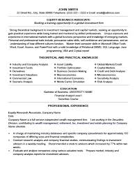 Scientific Resume Examples by Equity Research Associate Resume Template Premium Resume Samples