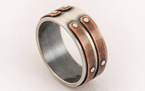 mens wedding rings unique silver copper unique ring s engagement