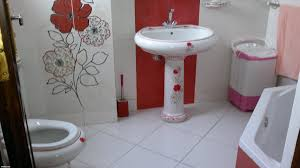 elegant black and red bathroom style decors with black porcelain