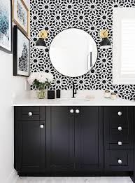 wallpapered bathrooms ideas how to go bold in a small bathroom black cabinet carrara marble