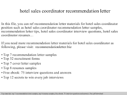 hotel sales coordinator recommendation letter