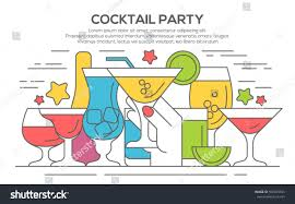 cocktail party invitation concept template hands stock vector