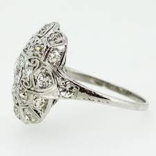 art deco platinum filigree and diamond cluster style cocktail ring