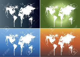 Beautiful World Map by Vector Illustrations Of World Maps Splattered On Four Different