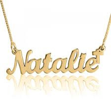 Name Chain Cross Name Necklace Joyful Script 24k Gold Plated Namefactory