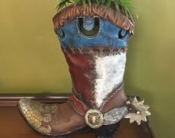 Cowboy Boot Planter by Vintage Cowboy Boots Etsy