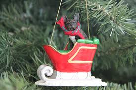 amazon com french bulldog sleigh christmas ornament home u0026 kitchen