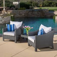 amazon com caspian 3 piece grey outdoor wicker furniture chat set
