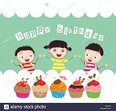 happy birthday card with kids and cupcakes stock vector art