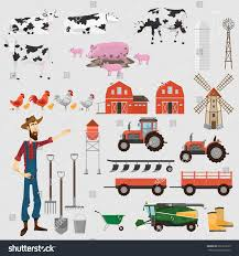 big farm set elements design farm stock vector 691223539