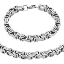 byzantine chain necklace images Men 39 s stainless steel byzantine chain necklace and bracelet set