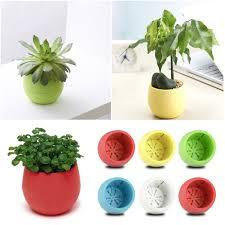 mini round plastic plant flower pots home garden office desk decor
