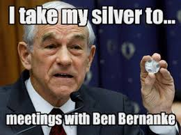 Ron Paul Meme - ron paul flashes a silver circle to bernanke in financial freedoms