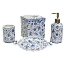 Navy Bathroom Accessories by Overstock Blue And White Florettes Porcelain Bath Accessory 4
