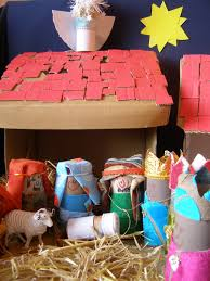 create with your hands cardboard box and toilet roll nativity scene