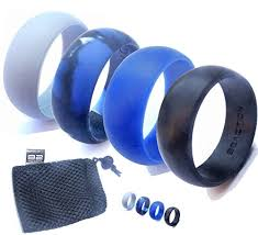 silicon wedding ring men s silicone wedding ring band by b2action 4 rings pack black