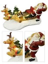 Lighted Santa Sleigh Reindeer Set by Santa Sleigh U0026 Reindeer With Illuminated Reins Figurine 12cm