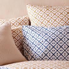 arouca bed linen white and denim blue navajo inspired design