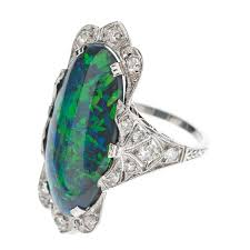 deco black opal and diamond ring c1925
